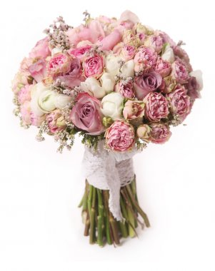 Wedding bouquet with rose bush, Ranunculus asiaticus