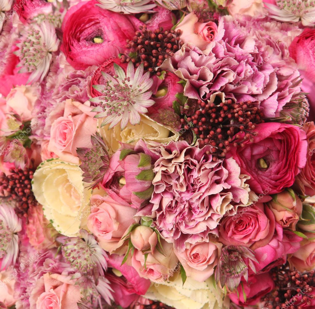 Close-up of wedding bouquet with Astrantia, Skimma, Brassica, ro