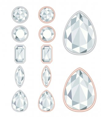 five forms of diamond cut and two kinds of frames (silver and go