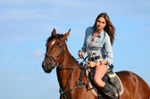 die Frau auf dem Pferd gegen den Himmel