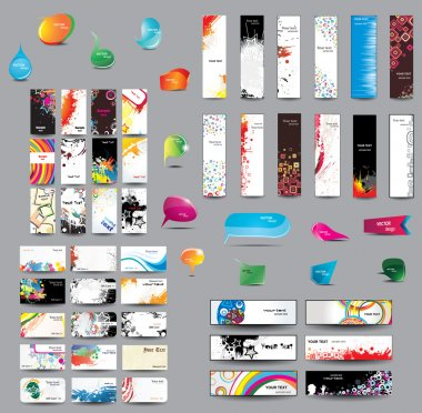 Mix Collection vertical and horizontal cards, headers ,bubbles for speech and elements for web design