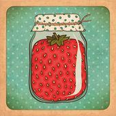 Photo Strawberry jam. Vintage cardboard. Vector Eps10