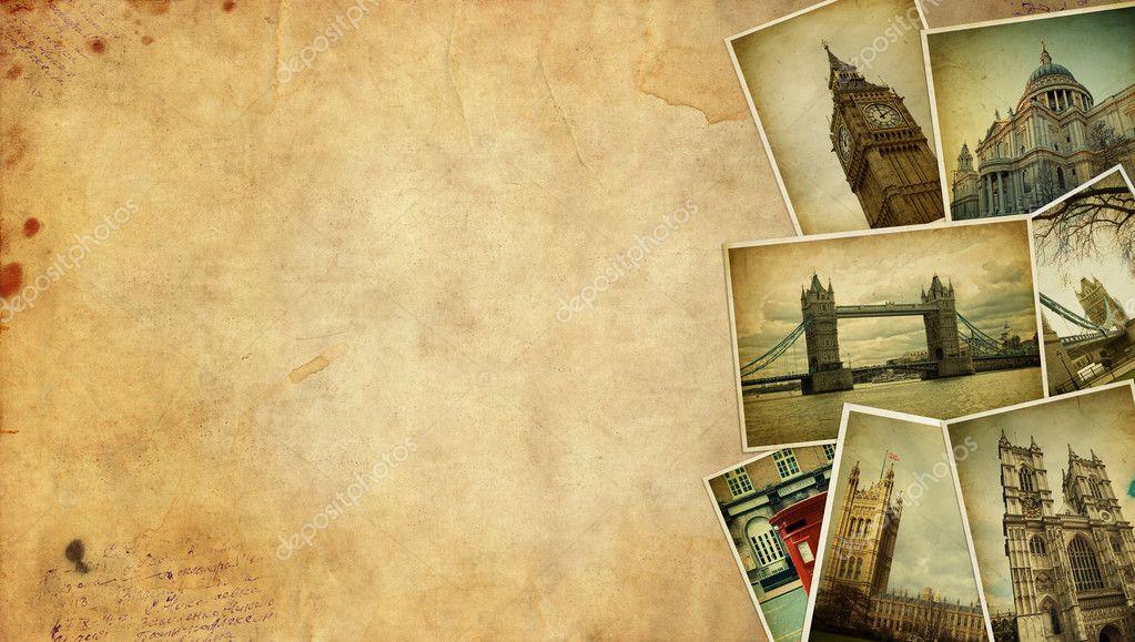 Vintage collage. London travel Blank.