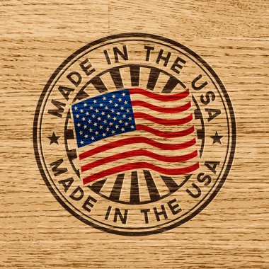 Made in the USA rubber stamp on wooden background stock vector