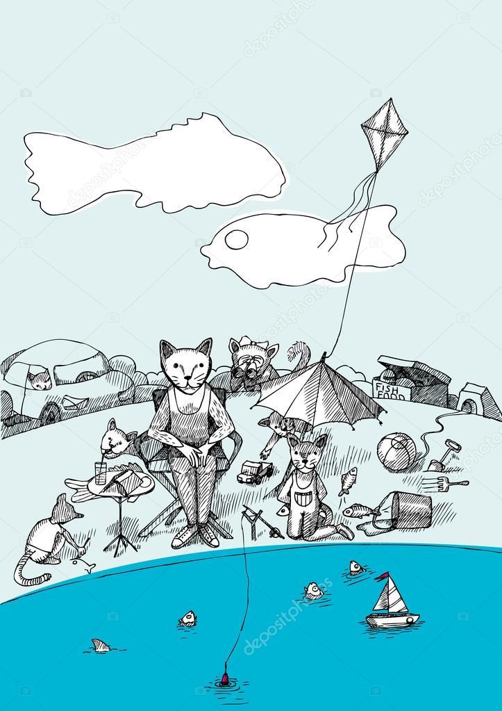 Cats-fishing