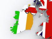 Térkép-Írország, valamint Nagy-Britannia