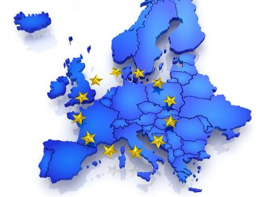 Three-dimensional map of Europe. 3d stock vector