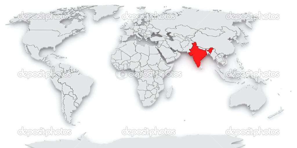 Mapa De La India En El Mundo.Mapa Del Mundo India Fotos De Stock C Tatiana53 39480763