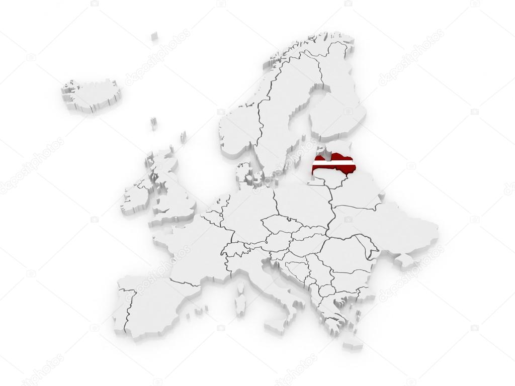 Lettland Karta Europa.Karta Over Europa Och Lettland Stockfotografi C Tatiana53 45270299