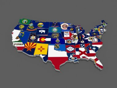 Three-dimensional map of USA. 3d stock vector
