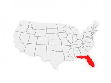 Three-dimensional map of Florida. USA.