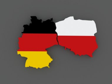 Germany and Poland. map.