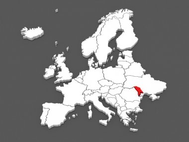 Map of Europe and Moldova.