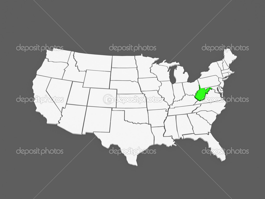 Three-dimensional map of West Virginia. USA. — Stock Photo ...