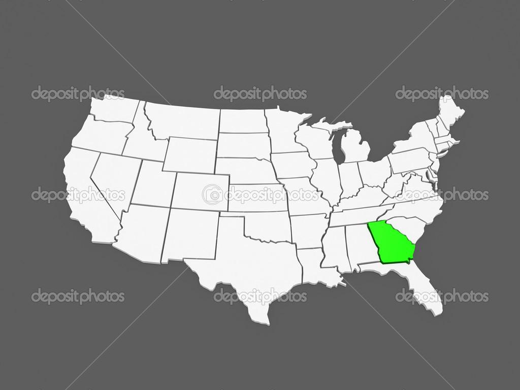 dreidimensionale Karte von Georgia. USA — Stockfoto © Tatiana53 ...
