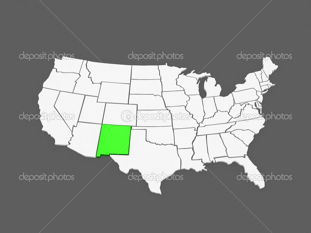 dreidimensionale Karte von New Mexico. USA — Stockfoto © Tatiana53 ...