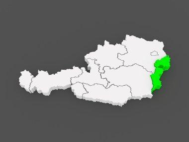 Map of Burgenland. Austria.