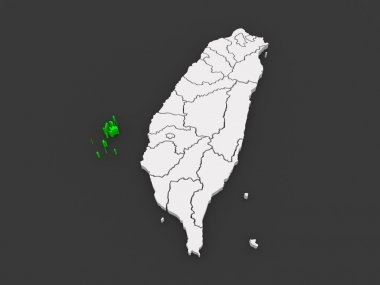 Map of Penghu County. Taiwan.