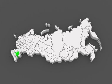 Map of the Russian Federation. Republic of Kalmykia.