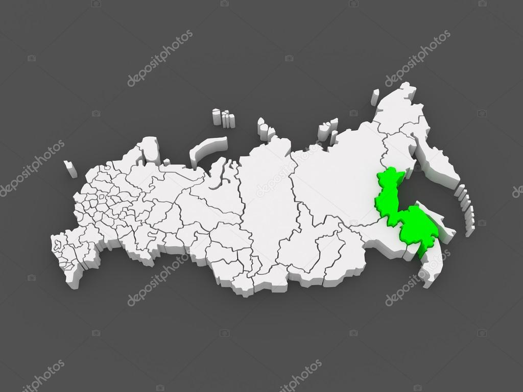 Map of the Russian Federation Khabarovsk Krai Stock Photo