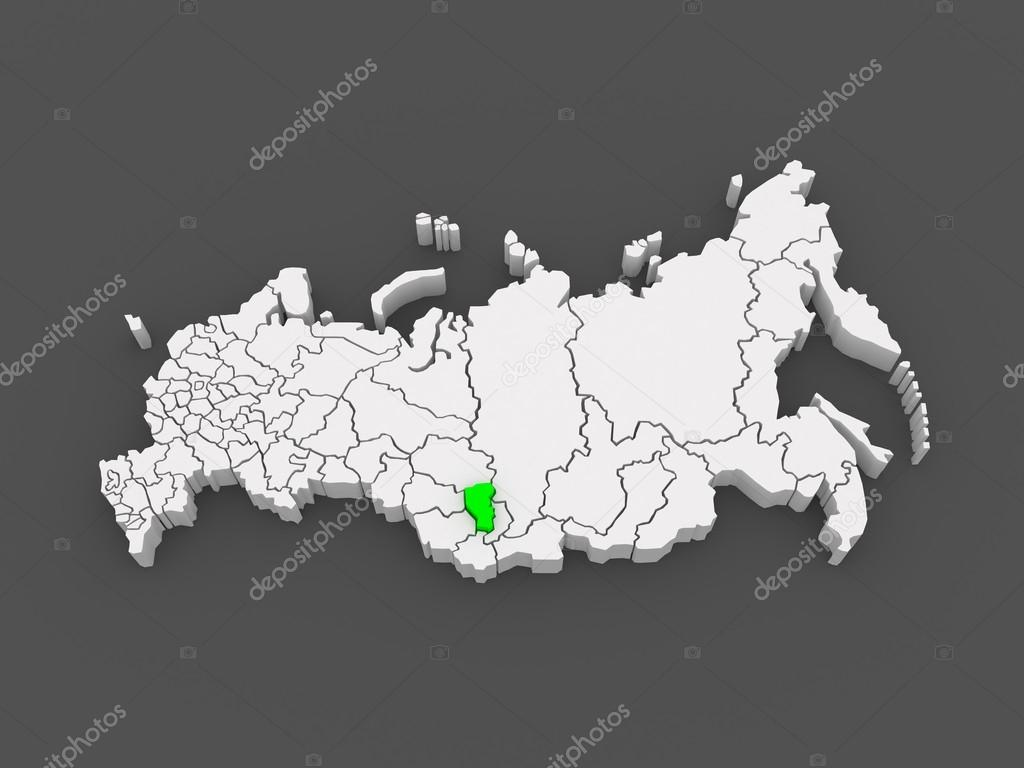 Map of the Russian Federation Kemerovo region Stock Photo