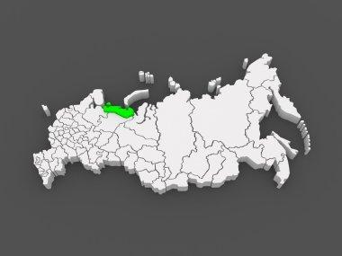 Map of the Russian Federation. Nenets Autonomous Okrug.