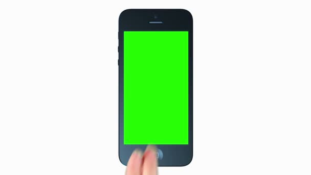 3D prezentace iphone. tabletový počítač. Dotyková obrazovka. zelená obrazovka