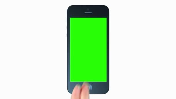 3D iphone bemutatása. tabletta számítógép. Érintse meg a képernyőt. zöld képernyő