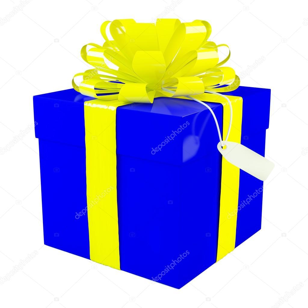 Caja de regalo azul grande con un fondo de gran lazo amarillo blanco fotos de stock - Lazos grandes para regalos ...