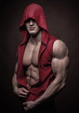 Model in a hoody