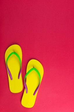 Yellow flip flop on red background
