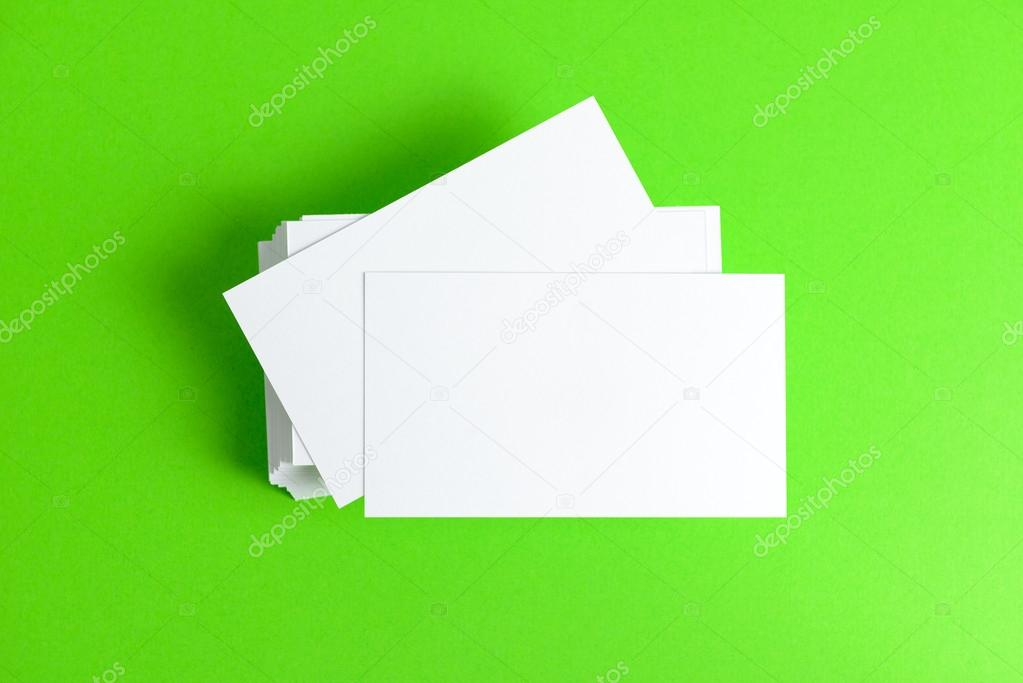 Plain business card stock photo shirotie 48219245 close up of plain business cards on green background photo by shirotie colourmoves