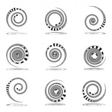 Spiral movement. Design elements set.
