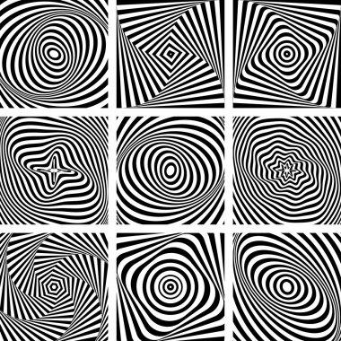 Set of patterns in op art design.