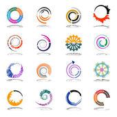 spirális és az elforgatás design elemek. absztrakt ikonok beállítása.