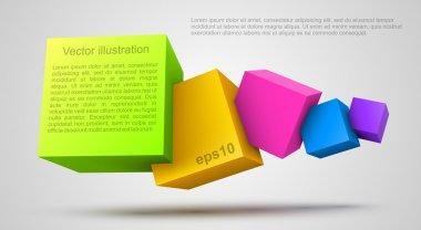 renkli küpler 3d