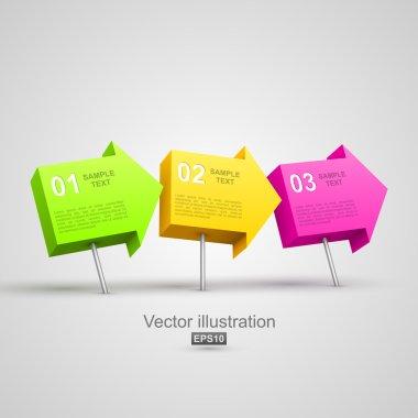 Colorful arrow pushpins 3D