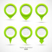 sada zelený kruh ukazatele 3d