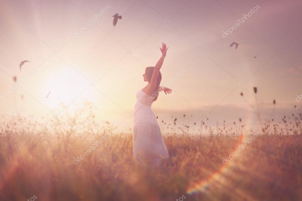 beautiful girl in a field.