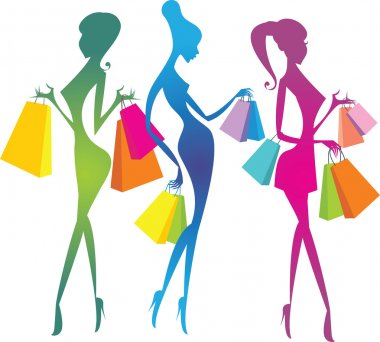 Colourful shopping girls silhouettes clip art vector