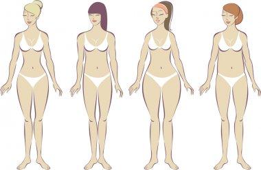 Set of female body types