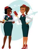 Air hostesses ready to fly
