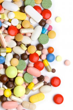 Colored pills, tablets and capsules