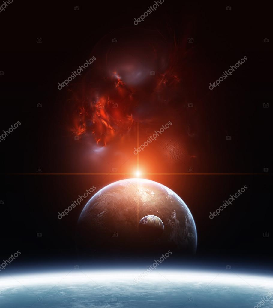 Earth with Planets and Red Nebula on background