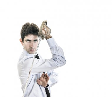 Young businessman fight with old sword