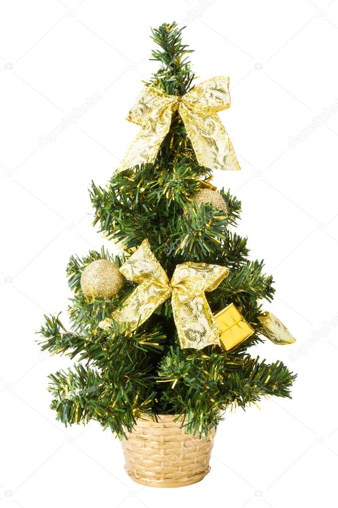small christmas tree with gifts bows and balls on white stock photo - Small Christmas Gifts