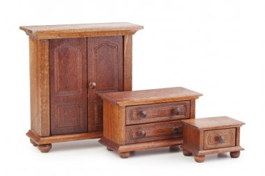 doll wooden furniture set: wardrobe, chest of drawers and nights