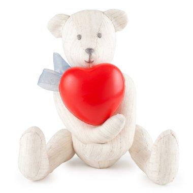 Toy handmade teddy bear on white
