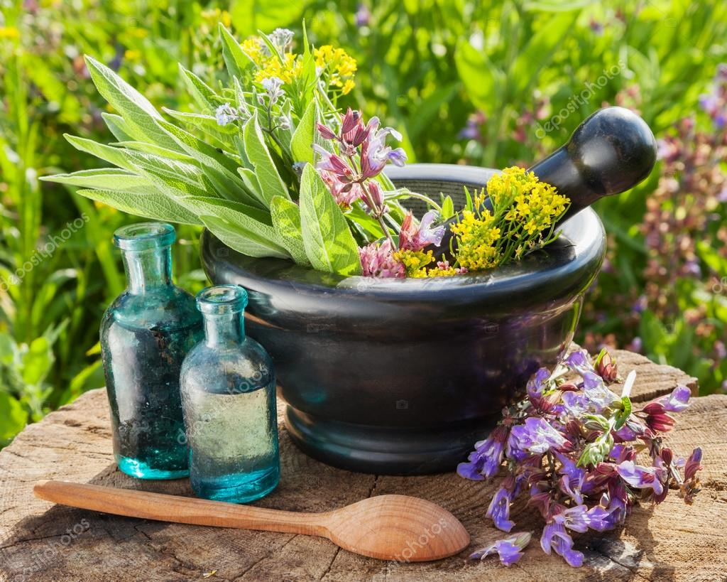 mortar with healing herbs and sage