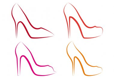 High heel shoes, vector set